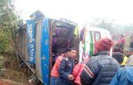 नुवाकोटको कुलकुलेमा बस दुर्घटनाः ३ जना गम्भिर घाईते