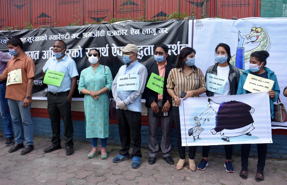 मिडिया मालिकविरुद्ध सडकमा पत्रकार (१२ फोटो)